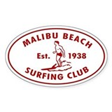 Malibu Beach Surfing Club Auto Decal