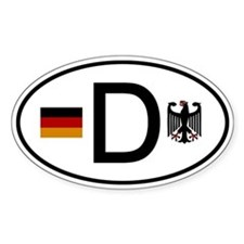 German D Flag and Eagle Oval Bumper Stickers