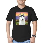 Husky Meadow Men's Fitted T-Shirt (dark)