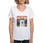 Husky Meadow Women's V-Neck T-Shirt