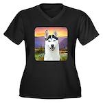 Husky Meadow Women's Plus Size V-Neck Dark T-Shirt
