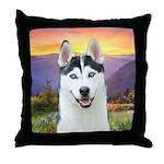 Husky Meadow Throw Pillow
