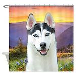 Husky Meadow Shower Curtain