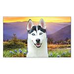 Husky Meadow Sticker (Rectangle)