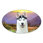 Husky Meadow Sticker (Oval)