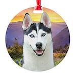 Husky Meadow Round Ornament