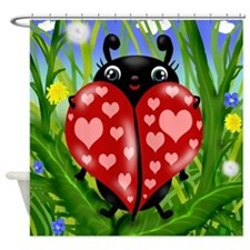 Love Bug Lady Bug Shower Curtain