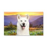 White Husky Meadow Car Magnet 20 x 12