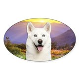 White Husky Meadow Decal