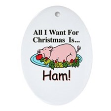 Christmas Ham Ornament (Oval)