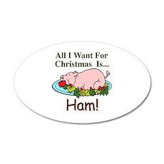 Christmas Ham 20x12 Oval Wall Decal