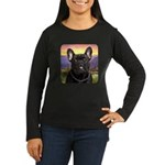 French Bulldog Meadow Women's Long Sleeve Dark T-S