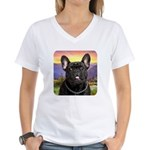 French Bulldog Meadow Women's V-Neck T-Shirt