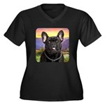 French Bulldog Meadow Women's Plus Size V-Neck Dar
