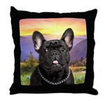 French Bulldog Meadow Throw Pillow