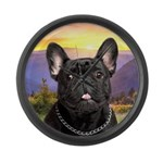 French Bulldog Meadow Large Wall Clock