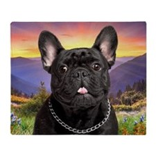 French Bulldog Meadow Throw Blanket