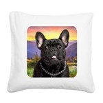French Bulldog Meadow Square Canvas Pillow