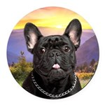 French Bulldog Meadow Round Car Magnet