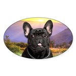 French Bulldog Meadow Sticker (Oval 50 pk)