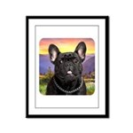 French Bulldog Meadow Framed Panel Print