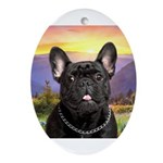 French Bulldog Meadow Ornament (Oval)