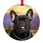 French Bulldog Meadow Round Ornament