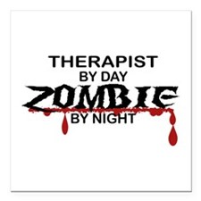 "Therapist Zombie Square Car Magnet 3"" x 3"""