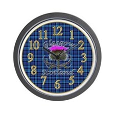 Glasgow Scotland blue tartan thistle wall clock