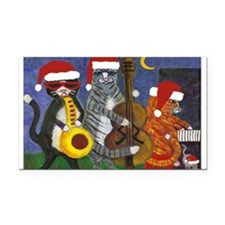 Jazz Cats Christmas Santas Rectangle Car Magnet
