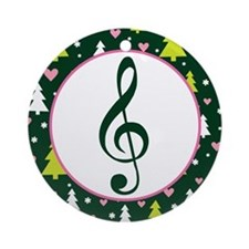 Music Treble Clef Holiday Gift Ornament (Round)