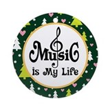 Music Is My Life Christmas Keepsake Ornament (Roun