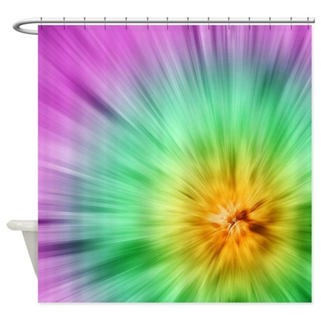 Green And Purple Tie Dye Shower Curtain By Perkinsdesigns