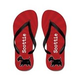 Personalizable Scottish Terrier Red Flip Flops