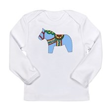 Blue Dala Horse Long Sleeve Infant T-Shirt