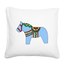 Blue Dala Horse Square Canvas Pillow