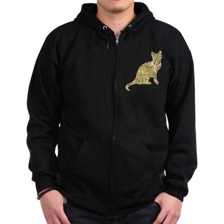 Golden Cat Zip Hoodie (dark)