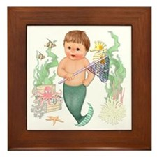Little Merboy Framed Tile