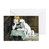 Dog Adoring Girl Victorian Painting Greeting Card