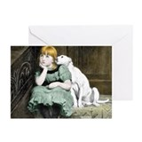 Dog Adoring Girl Victorian Painting Greeting Cards