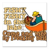 "Fishy Fish in the lake Square Car Magnet 3"" x 3"""