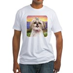 Shih Tzu Meadow Fitted T-Shirt