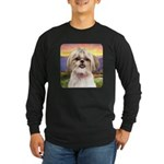 Shih Tzu Meadow Long Sleeve Dark T-Shirt