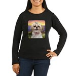 Shih Tzu Meadow Women's Long Sleeve Dark T-Shirt