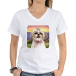 Shih Tzu Meadow Women's V-Neck T-Shirt