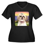 Shih Tzu Meadow Women's Plus Size V-Neck Dark T-Sh