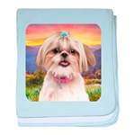 Shih Tzu Meadow baby blanket