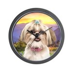 Shih Tzu Meadow Wall Clock