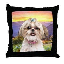 Shih Tzu Meadow Throw Pillow