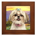Shih Tzu Meadow Framed Tile